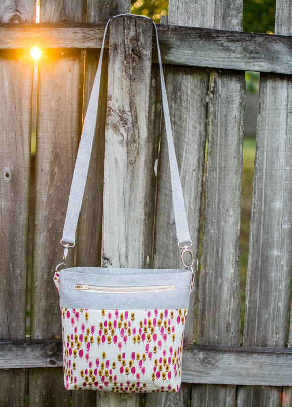 Convertible Cross Body Tote Bag Tutorial by Caroline at Sew Can She