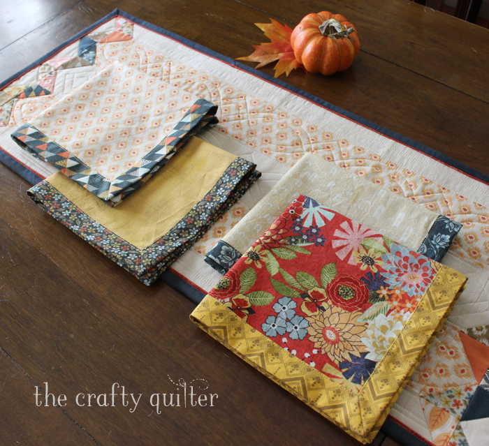 Fall Table Runner and napkins made by Julie Cefalu @ The Crafty Quilter