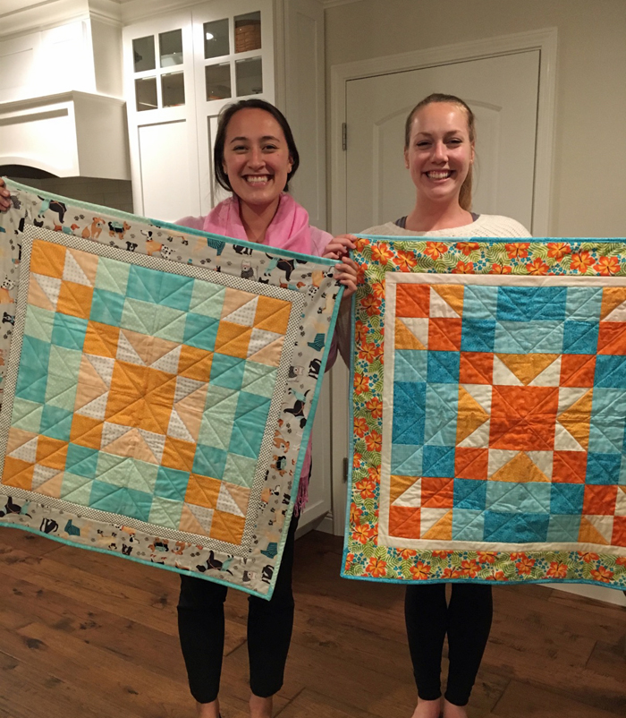 New quilters, Sara H. and Sara C.