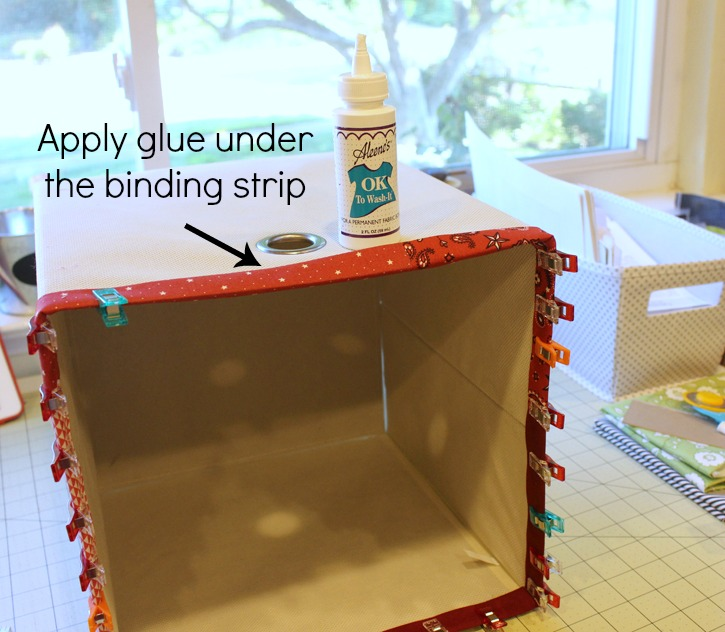 Easy Fabric Scrap Storage Bins @ The Crafty Quilter. See how easy it is to make your own colorful bins to hold all of your fabric scraps and keep them organized!