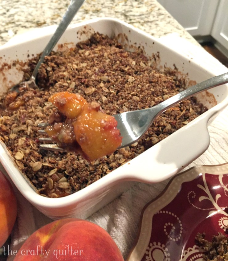 Peach Crisp made by Julie Cefalu. Recipe from Ambitious Kitchen blog