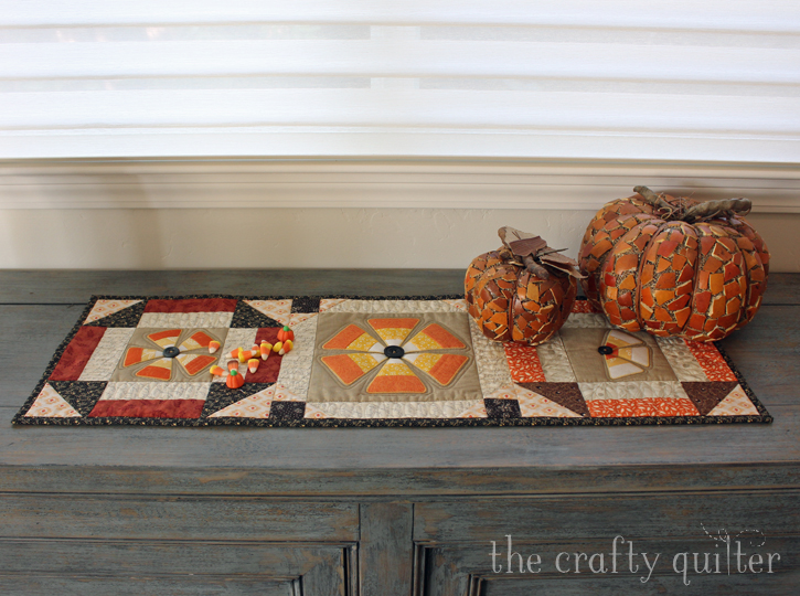 Candy Corn Flowers Table Runner Tutorial @ The Crafty Quilter