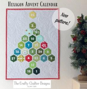 Hexagon Advent Calendar & Pillow designed by Julie Cefalu @ The Crafty Quilter Designs