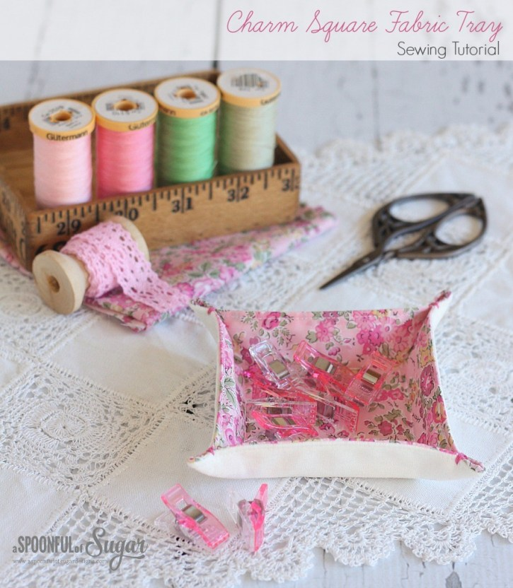 Charm Square Fabric Tray Tutorial @ A Spoonful of Sugar