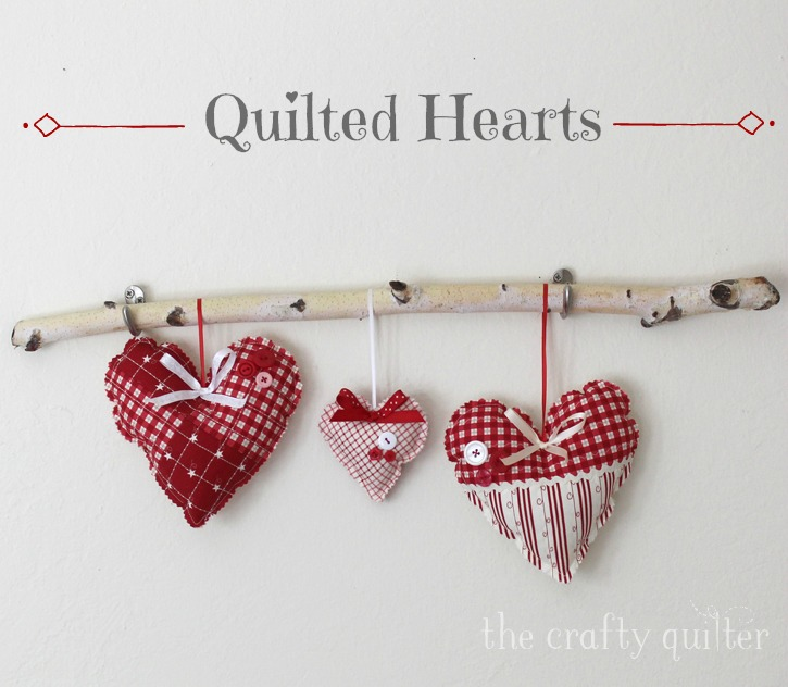 Quilted Heart Tutorial @ The Crafty Quilter includes a printable template for two heart sizes. This is a quick and easy project to add a charming touch to your decor and it makes a great gift!