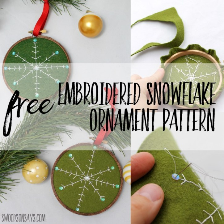 free Embroidered Snowflake Ornament Pattern @ Swoodson Says