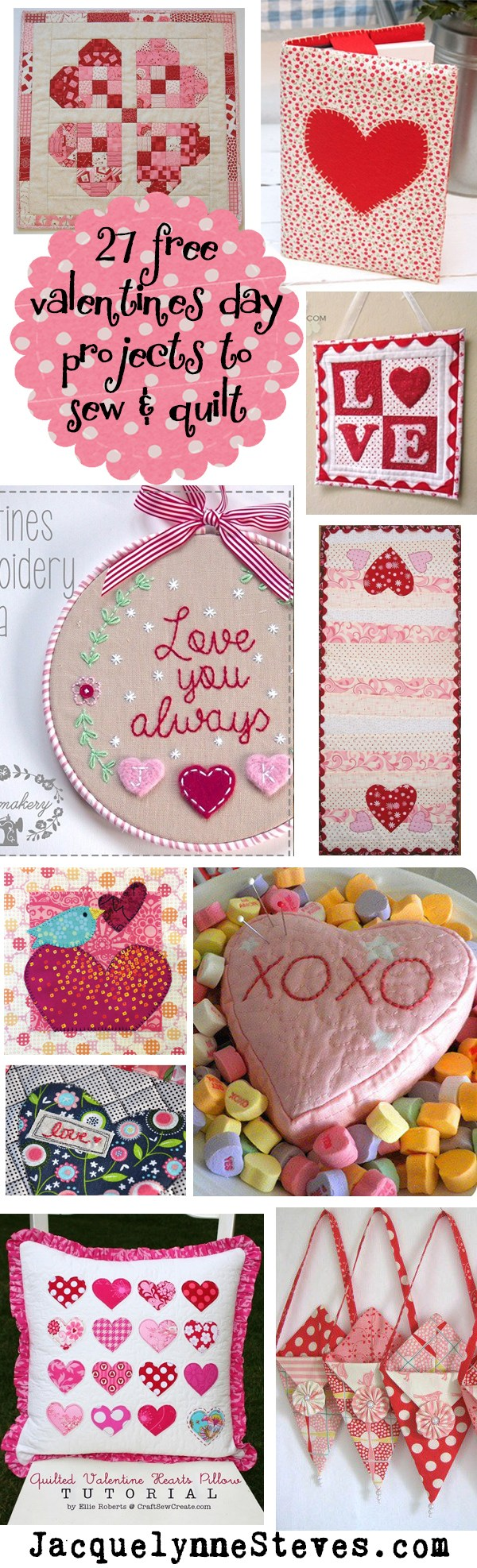 Quilted heart ideas for Valentine's Day