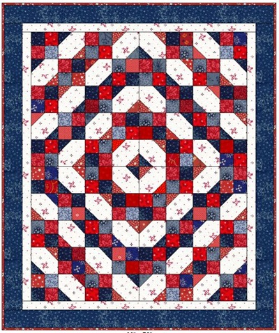 Fourth of July Scrap quilt by Bonnie Hunter at Quiltville