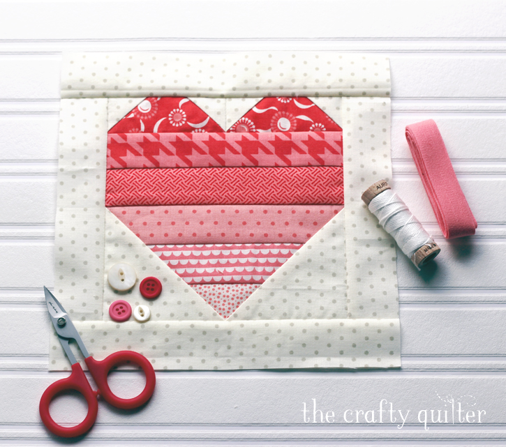 """Ombre Heart Quilt Block tutorial by Julie Cefalu @ The Crafty Quilter.  Use up your stash and make 6 1/2"""" heart blocks very easily!"""