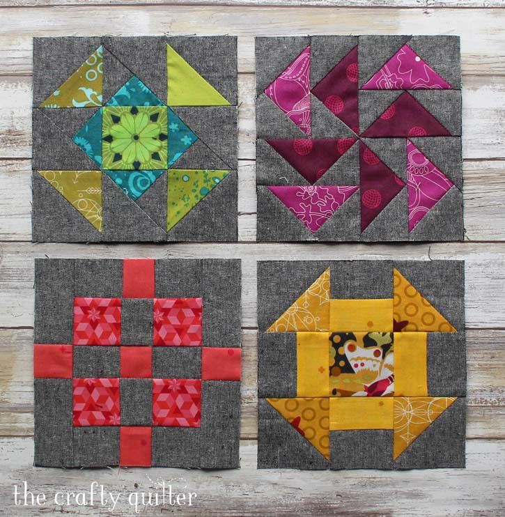 "6"" quilt blocks from the Quilter's Planner Sew Along. Made by Julie Cefalu, designed by Cheryl Brickey."