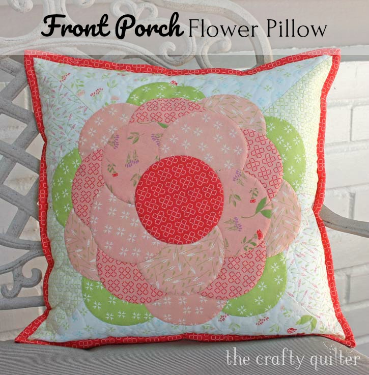 """Front Porch Flower Pillow. A free tutorial by Julie Cefalu @ The Crafty Quilter for a 16"""" covered pillow using easy applique techniques."""