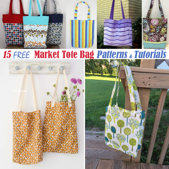 15 Free Market Tote Bag Patterns & Tutorials @ Threading My Way