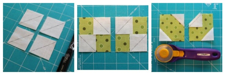 "The Summer Fun Quilt Along @ The Crafty Quilter creates a bright and happy wall hanging that measures 30"" x 32"". Week 3 instructions include several ways to make the sunflower block and the stem block."