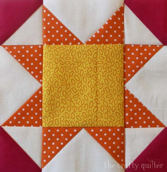 Sunny Star quilt block from The Summer Fun Quilt Along @ The Crafty Quilter.