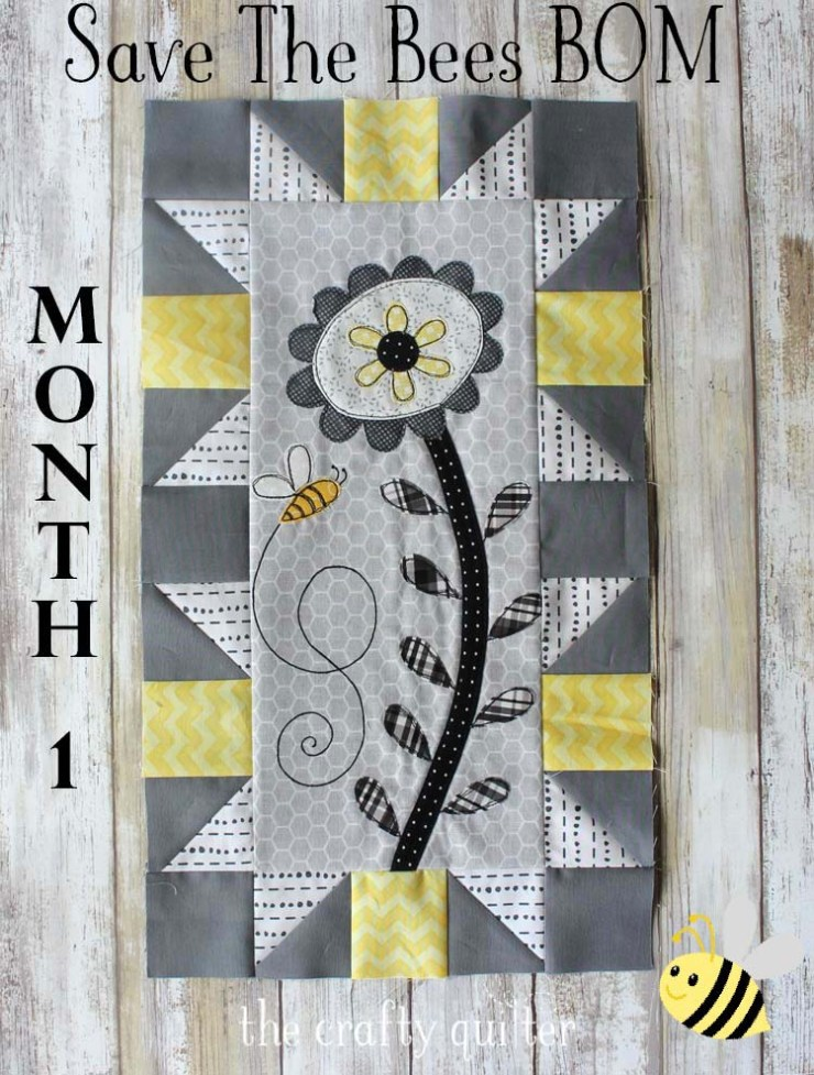 Save The Bees block of the month designed by Jacquelynne Steves. Month 1 block made by Julie Cefalu @ The Crafty Quilter