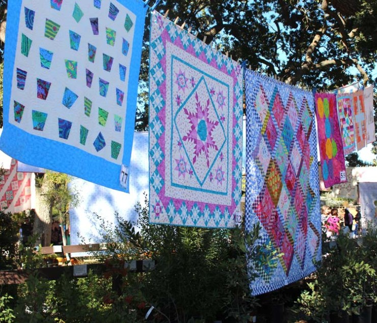 A photo tour of Quilting in the Garden at Alden Lane Nursery in Livemore, California. Beautiful quilts hang among the majestic oaks for a fantastic, outdoor quilt show. Photos by Julie Cefalu @ The Crafty Quilter