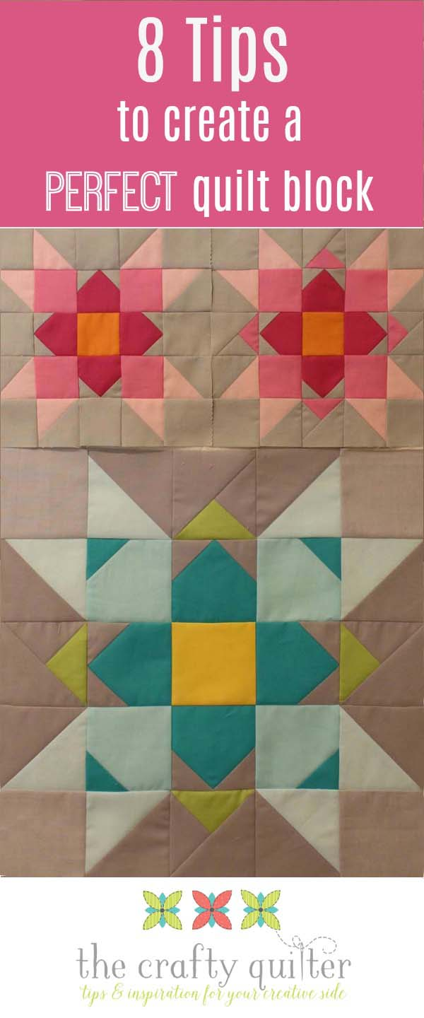 8 tips to create the perfect quilt block. Being able to produce quilt blocks that are accurate makes it so much easier to create a quilt top when all of the puzzle pieces fit! Julie @ The Crafty Quilter shares her tips so you can experience that too.