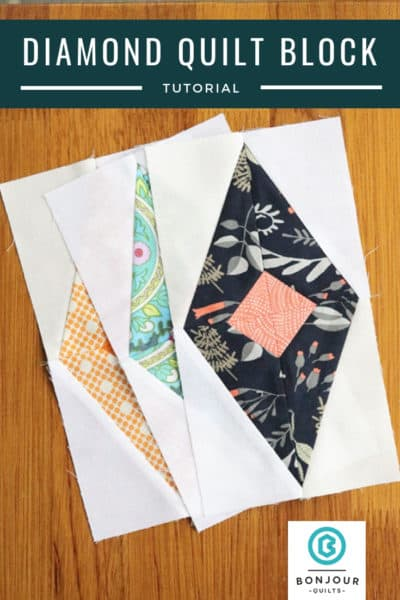 Diamond Quilt Block Tutorial by Bonjour Quilts; featured on Sew Thankful Sunday @ The Crafty Quilter