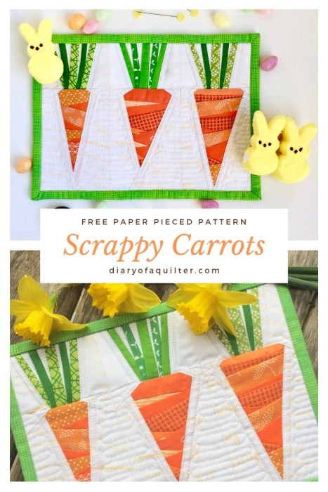 Scrappy Carrots, a free paper pieced pattern @ Diary of A Quilter; featured on Sew Thankful Sunday @ The Crafty Quilter