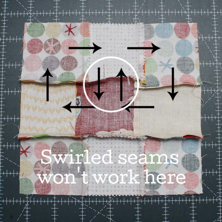 Why swirled seams won't work sometimes - The Crafty Quilter.