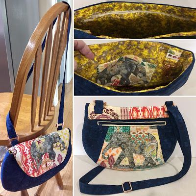 May UFO & WIP challenge winner @ The Crafty Quilter is Kathi C.  She made this beautiful Oriole Bag with an Elephant theme.