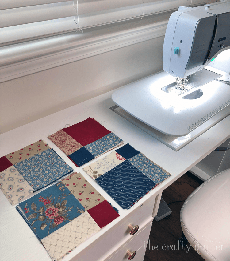 My sewing machine set up for the Disappearing 9-patch quilt along @ The Crafty Quilter