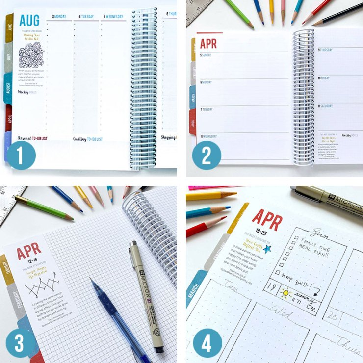 The Quilter's Planner, 2020 allows you to customize your weekly calendar pages.