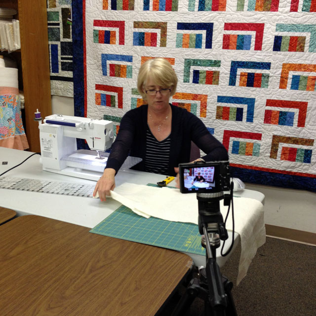 Julie Cefalu during video taping for The Quilt Show.