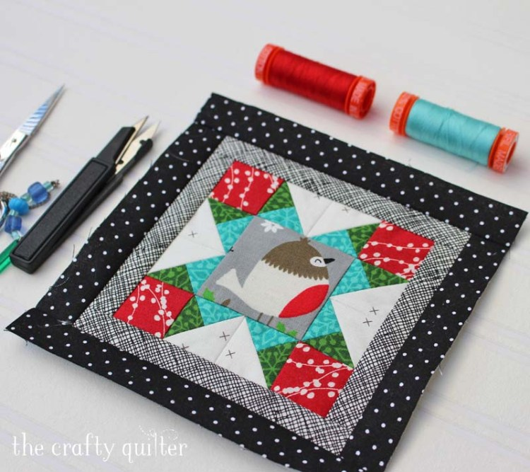 Happy Little Things BOM block 2 (mini version) made by Julie Cefalu @ The Crafty Quilter.  Original block design by Jacquelynne Steves.