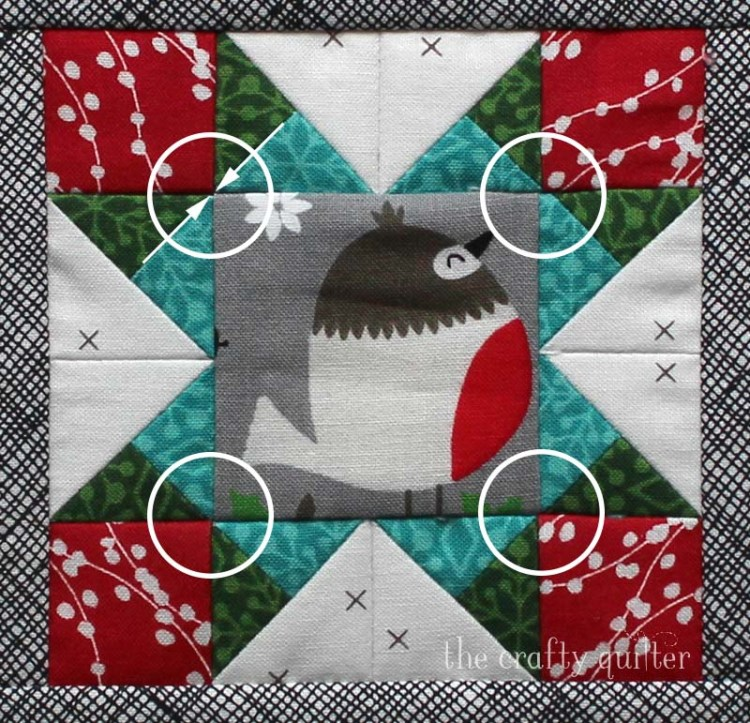 The Crafty Quilter - Matching diagonal seams on block 2 of the Happy Little Things BOM designed by Jacquelynne Steves