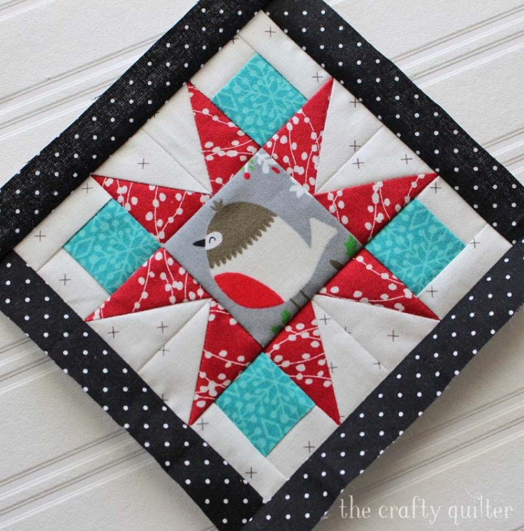 Happy Little Things BOM block 3, miniature version made by Julie Cefalu @ The Crafty Quilter.  Original design by Jacquelynne Steves.