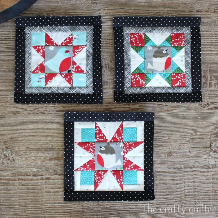 Happy Little Things BOM blocks 1 thru 3, miniature version made by Julie Cefalu @ The Crafty Quilter.  Original design by Jacquelynne Steves.
