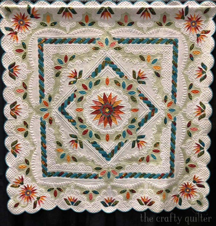 Square Dance by Barbara Clem won honorable mention at PIQF 2019. Photo by Julie Cefalu at The Crafty Quilter.