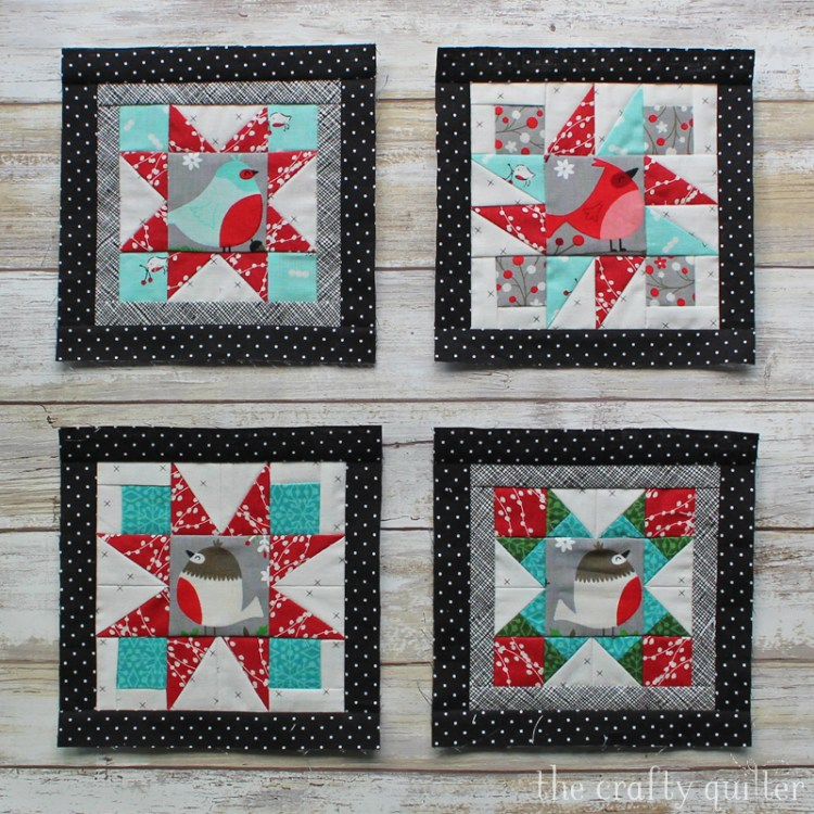 Blocks 1 through 4 of Happy Little Things BOM, designed by Jacquelynne Steves.  Mini version of each block made by Julie Cefalu.