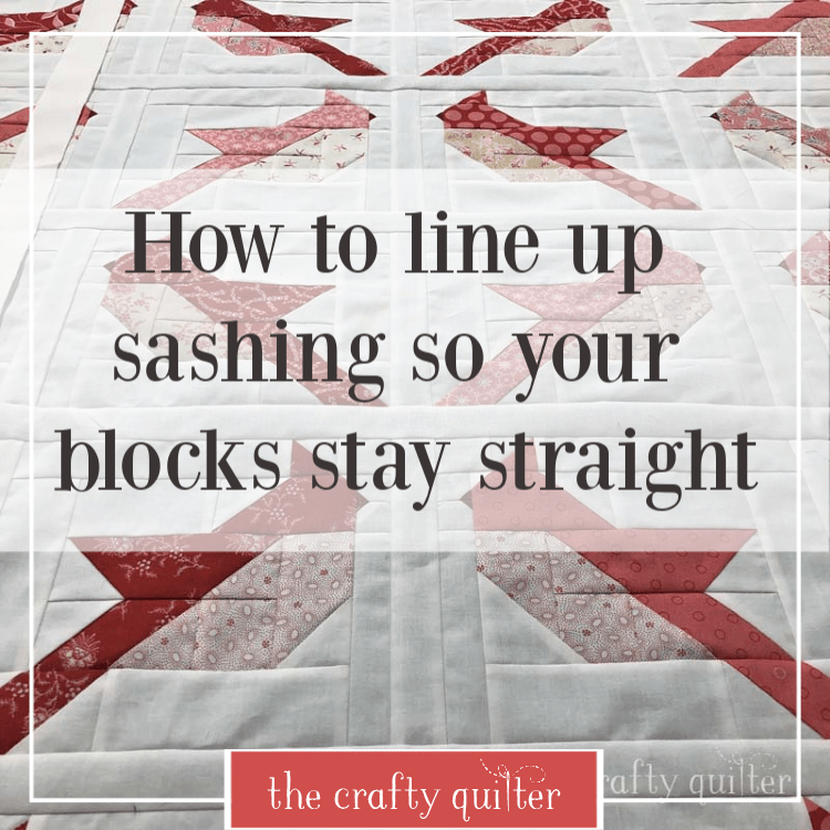 How to line up sashing strips so your blocks stay straight and even @ The Crafty Quilter.