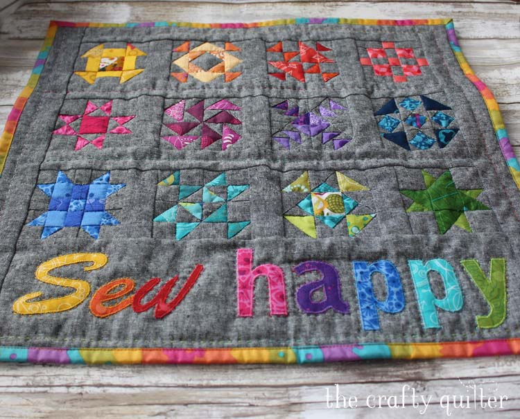 Sew Happy Mini Quilt Tutorial by Julie Cefalu @ The Crafty Quilter