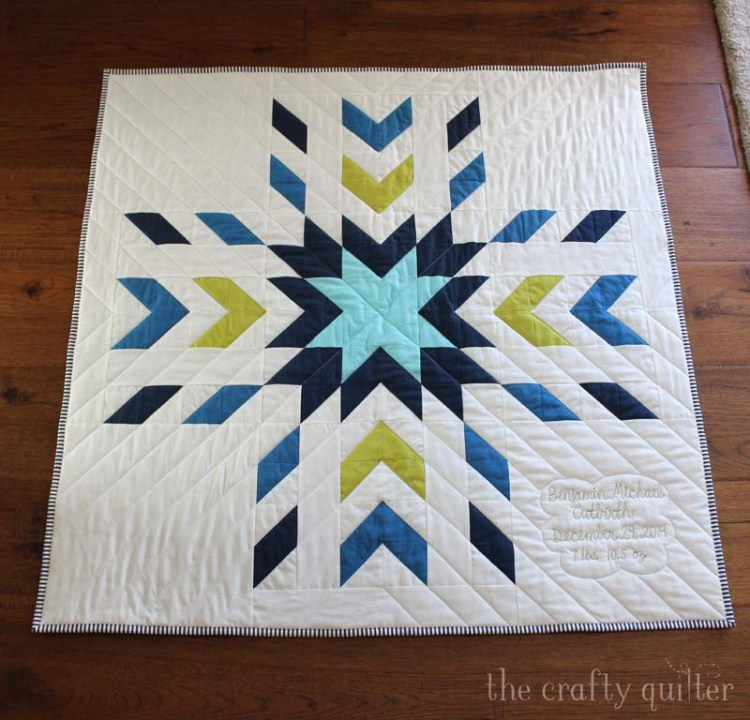 My latest finish is an adorable baby quilt for Benjamin, my grandson.  The quilt pattern is Glacier Modern Quilt by QLT Studio.