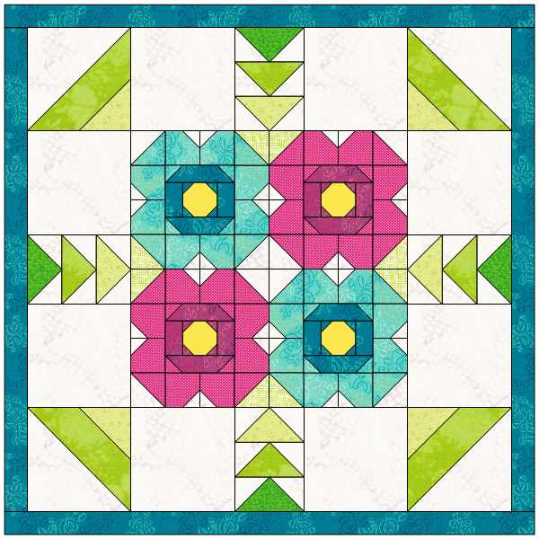 Quilt designed in EQ8 by Julie Cefalu using her Blossom Quilt Block tutorial.