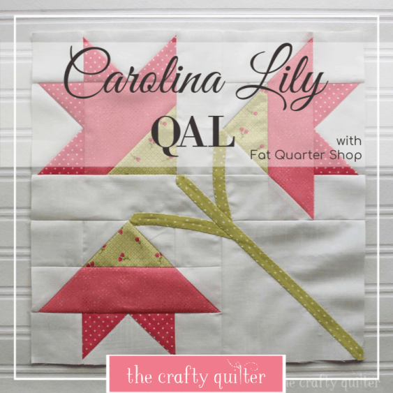 Carolina Lily Quilt Along is hosted by Fat Quarter Shop's blog, The Jolly Jabber.  Julie Cefalu is a participating blogger and made this version of the free quilt block pattern.