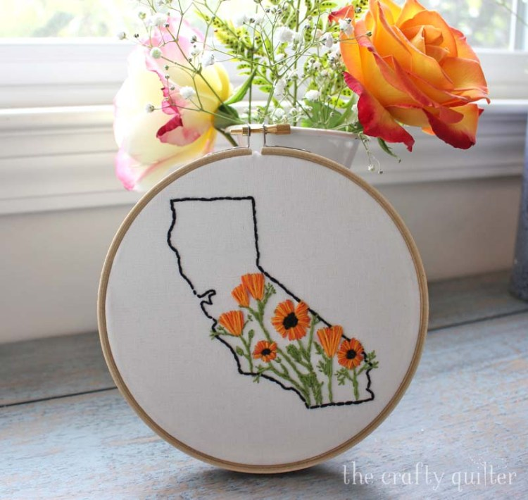 California State Embroidery Kit from LemonMadeShop on Etsy.  Made by Sara Cefalu.
