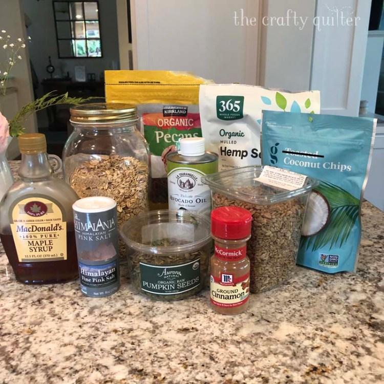 The ingredients for my Maple Pecan Granola Recipe.