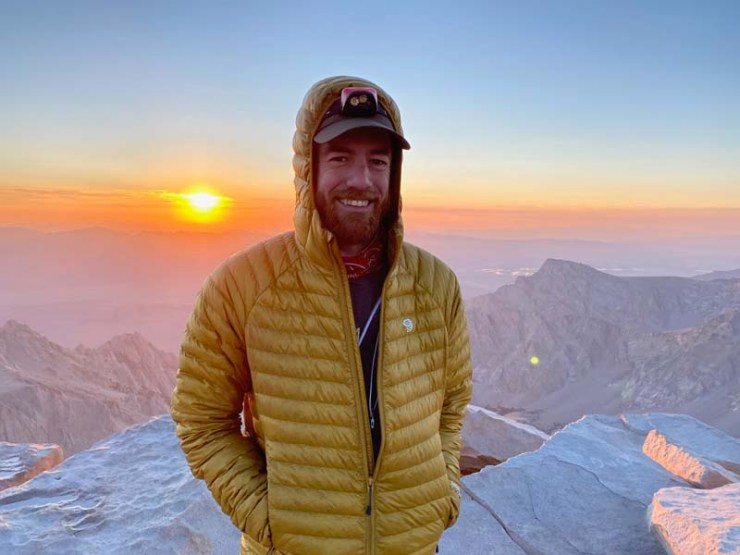 Jon Cefalu at sunrise on top of Mount Whitney, August 2020.