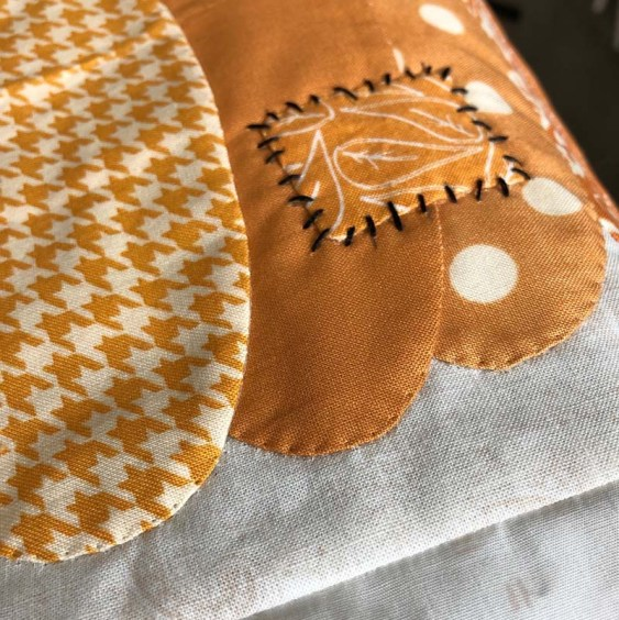 Detail of Patchwork Pumpkins applique @ The Crafty Quilter