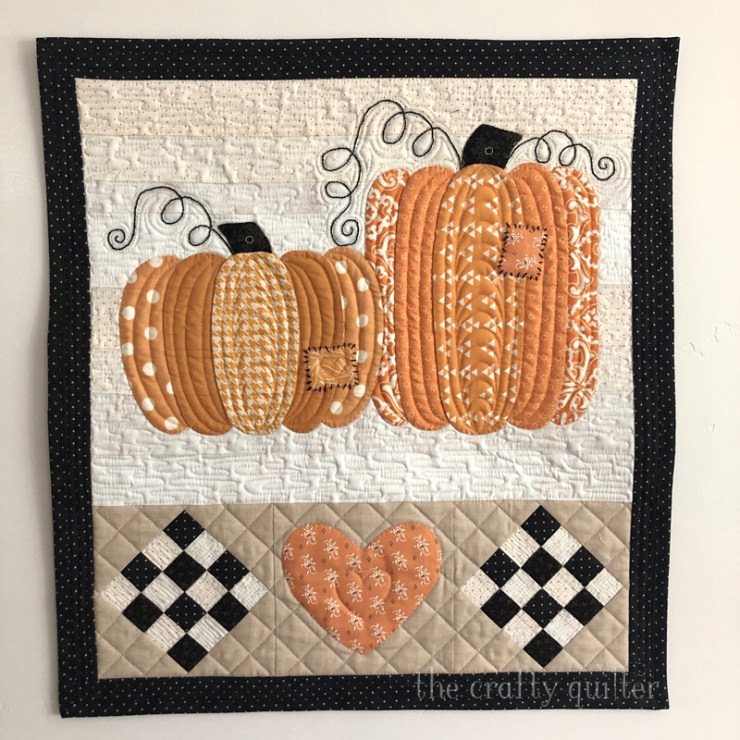 Patchwork Pumpkins Wall hanging made and designed by Julie Cefalu @ The Crafty Quilter.