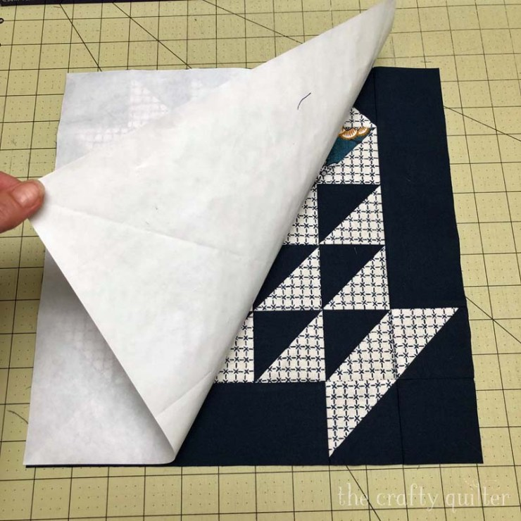 Check out how to square up a quilt block that is larger than your ruler.  This freezer paper method works for any size block. @ The Crafty Quilter