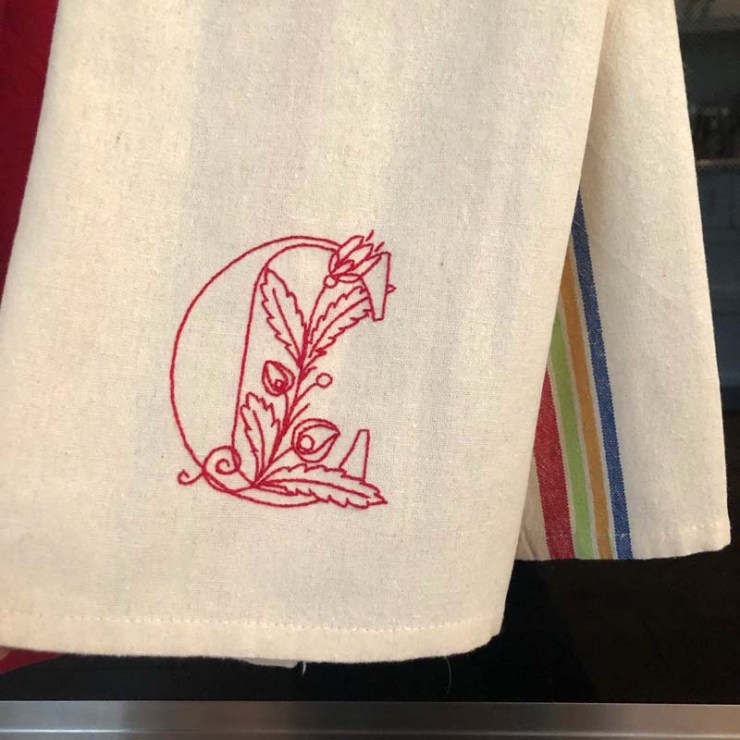 Monogrammed dish towel made by Linda H. for Julie @ The Crafty Quilter