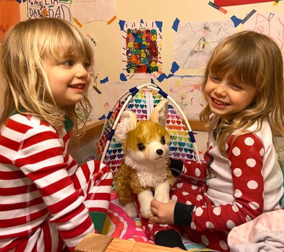 Clara and Amelia happily playing with the doll tent.