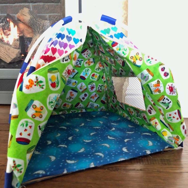 Doll tent made by Julie @ The Crafty Quilter.  Pattern from WonderfulWellies Etsy Shop.