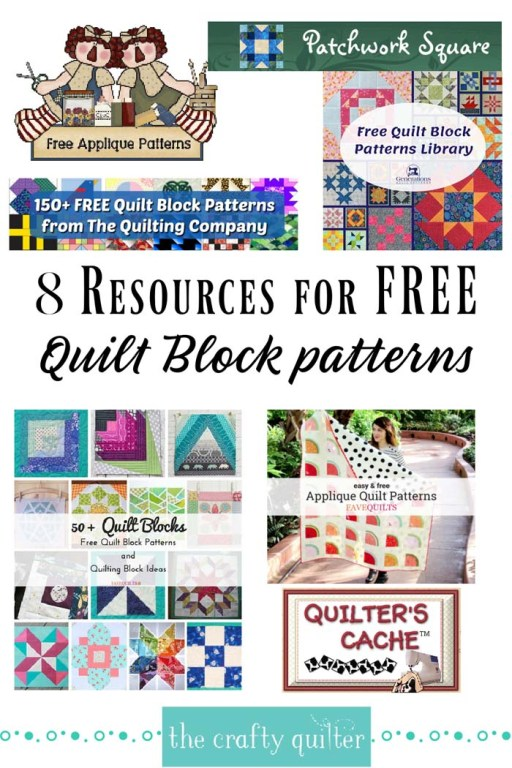 Check out these 8 resources for FREE quilt block patterns @ The Crafty Quilter!