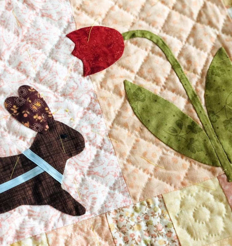 Hand quilting by Julie Cefalu @ The Crafty Quilter.  Pattern is Rabbits Prefer Chocolate by Bunny Hill Designs.